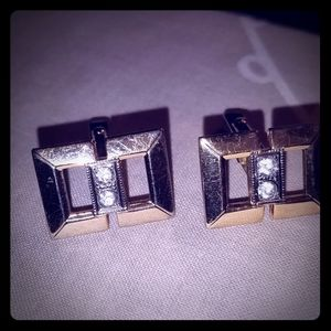 Mens Vintage Gold Plated Cufflinks with CZ stones